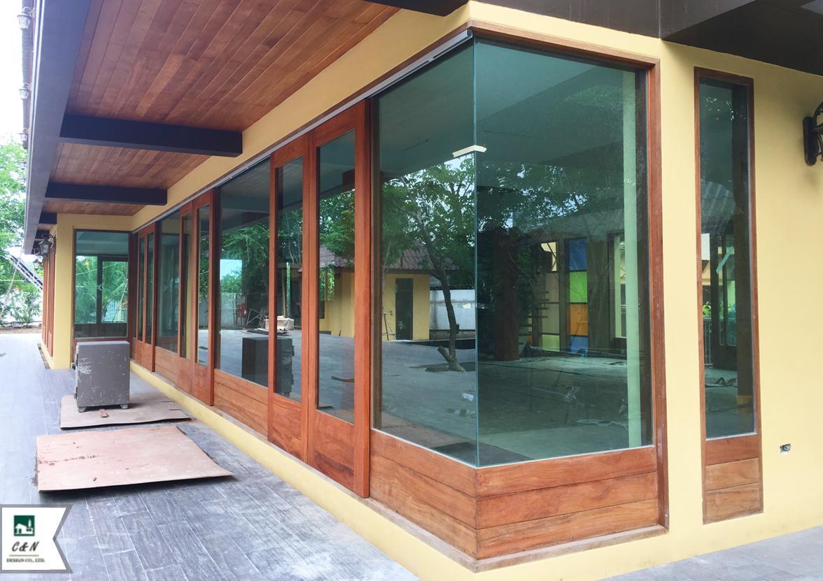 วงกบ ปรตู หน้าต่างไม้มะค่า